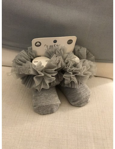 Calzini in cotone e tulle grigio