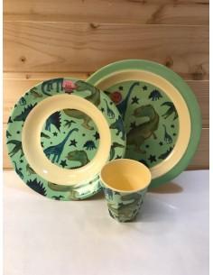 Set piatti dinosauri verdi
