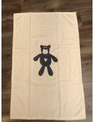 Telo mare in spugna panna con orso...