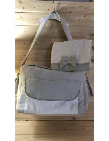 Diaper bag in cotone operato grigio
