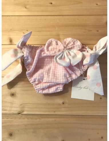 Costume quadretti rosa e fiocchi a pois